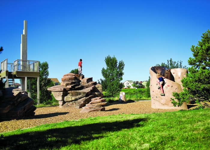 Greenway Park overlook and rock climbing wall in Stapleton
