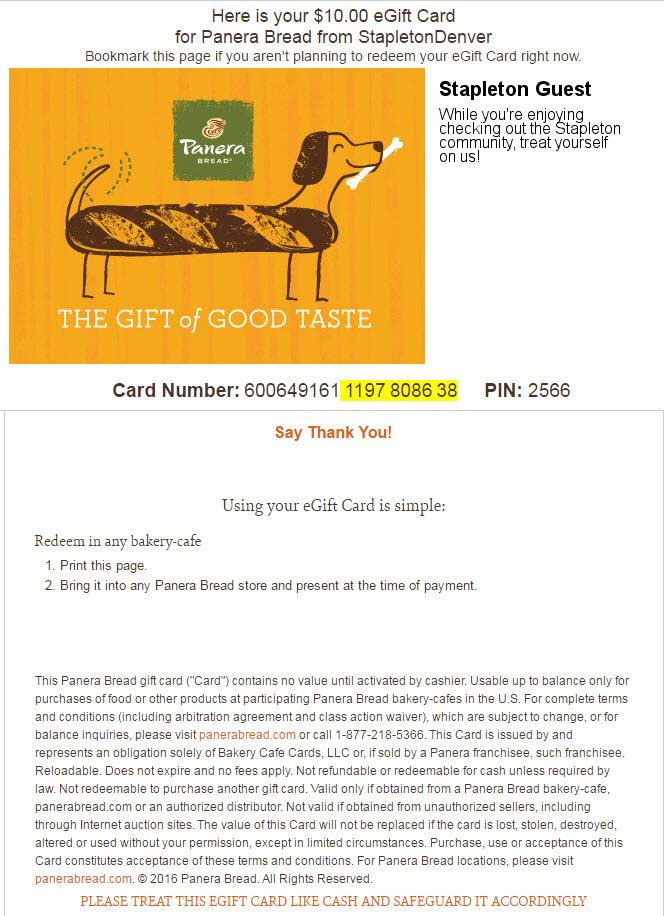 Panera Gift Card 1 - Stapleton Denver
