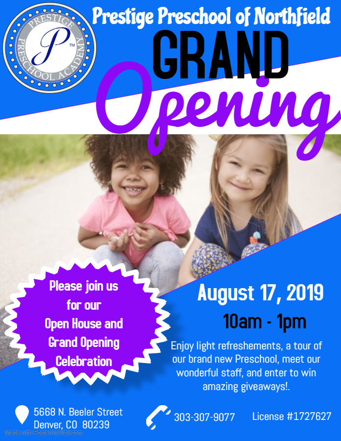 Prestige Preschool Academy Grand Opening Flyer