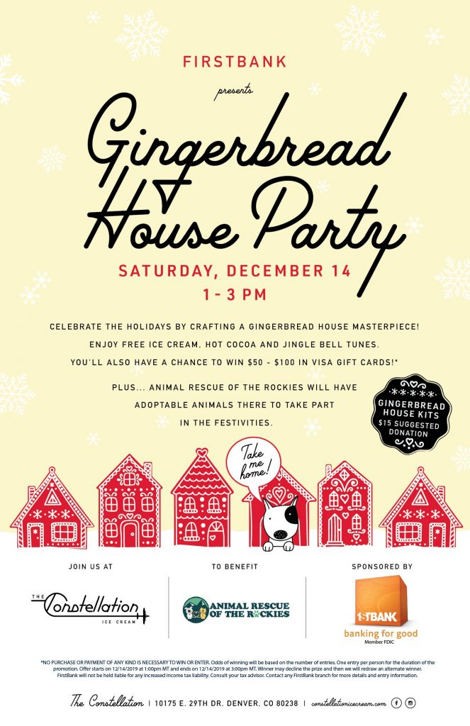 Flyer for Gingerbread House Party at Constellation Ice Cream