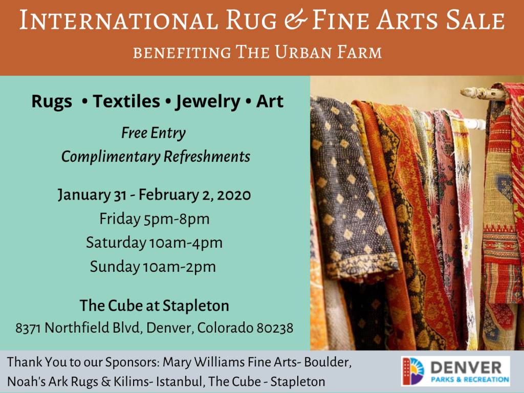 Rugs and information about an upcoming rug & fine art sale
