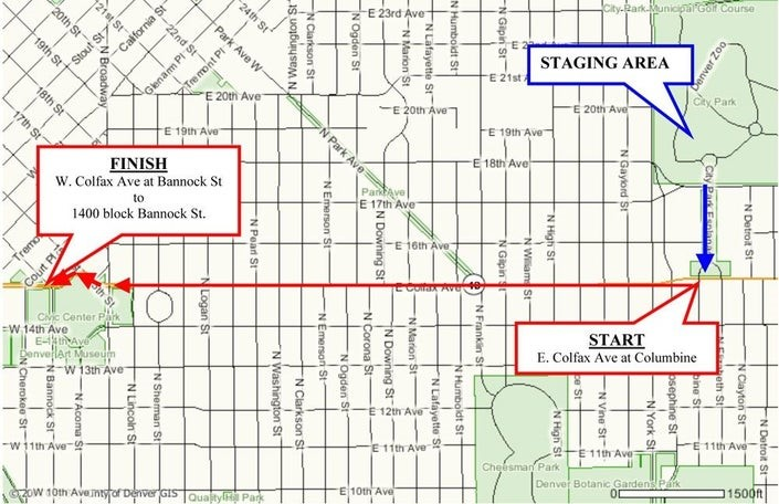 Map of the 2020 MLK Marade Route in Denver CO
