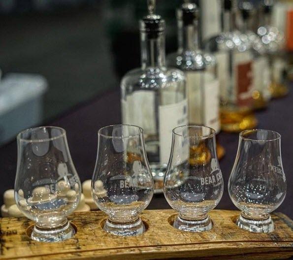 Whiskey glasses and bottles for Whiskey Tasting
