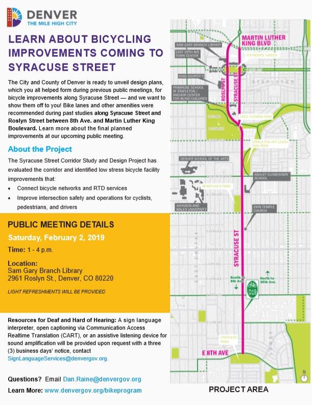Public Meeting Syracuse St. Denver, CO